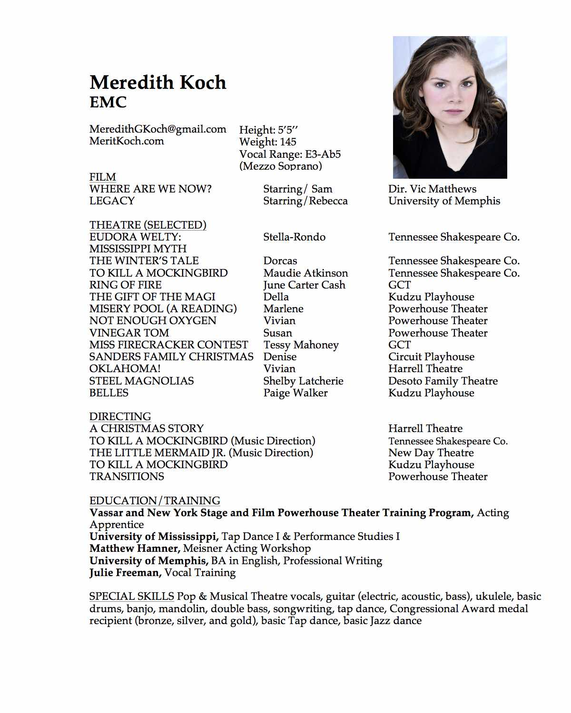 Acting resume skills