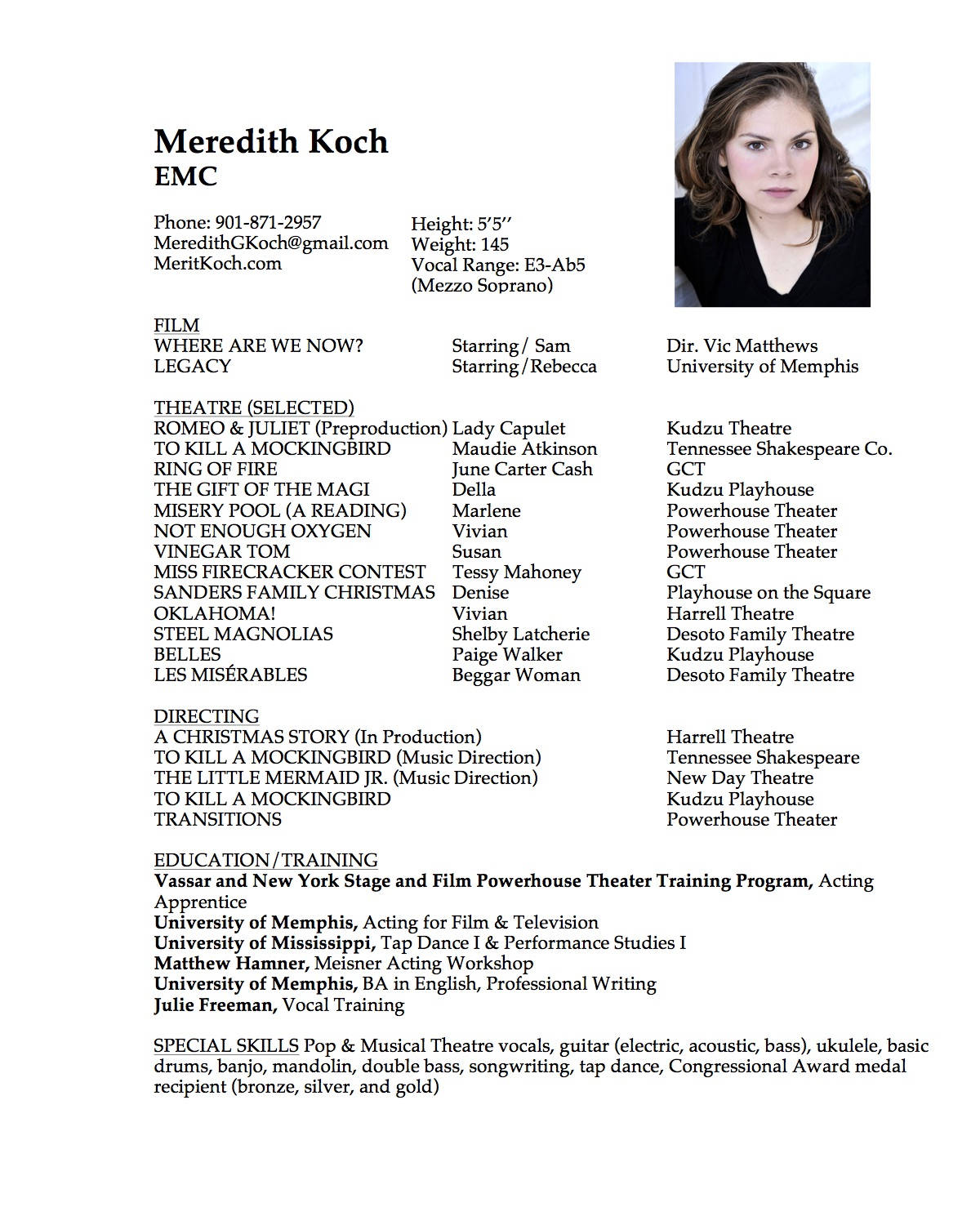 vocal resume example
